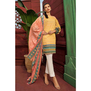 Gul Ahmed Printed Cambric Unstitched 2 Piece Suit TCN-38 B - Yellow