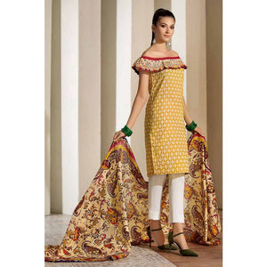 Gul Ahmed Printed Cambric Unstitched 2 Piece Suit TCN-46 A - Yellow