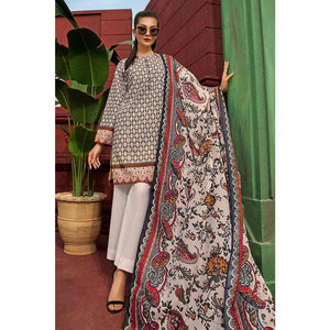 Gul Ahmed Printed Cambric Unstitched 2 Piece Suit TCN-46 B - Grey