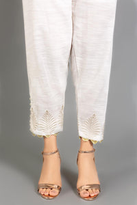 Gul Ahmed Embroidered Stitched Off White Trousers TR-19-72