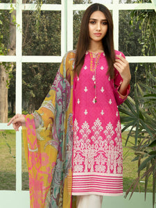 LIMELIGHT 2-PC Unstitched Embroidered Lawn Suit U-0878 Pink