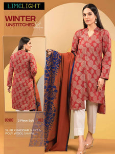 Limelight 2 Piece Unstitched Slub Khaddar Suit U-0980-A Red