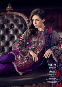 Gul Ahmed Embroidered Velvet Silk Unstitched 3 Piece Suit VL-59