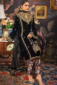 3 PC Unstitched Embroidered Jamawar Suit with Velvet Shawl VLW-37