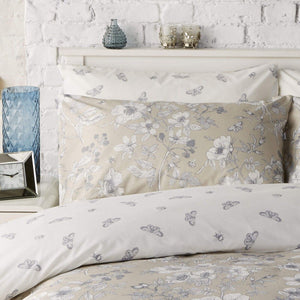 Vantona Honor Floral Print Duvet Cover Set - Stone
