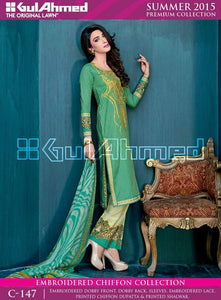 Embroidered Dress with Chiffon Dupatta C-147
