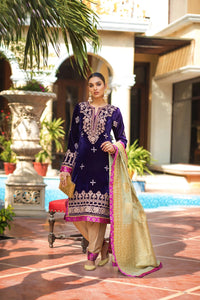 ZS Textile Embroidered Velvet Stitched 3 Piece Suit Z-01
