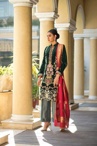 ZS Textile Embroidered Velvet Stitched 3 Piece Suit Z-04