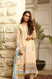 LSM 3PC Stitched Embroidered Winter Dress AE-6605 A - CREAM