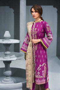 Dark Pink 3PC Embroidered Khaddar Shirt with Zari Embroidered Shawl APE-06
