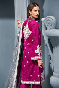 Dark Pink 3PC Embroidered Khaddar Shirt with Embroidered Woolen Shawl APE-08