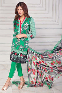 Gul Ahmed Printed Lawn Unstitched 3 Piece Suit AS-14 Green