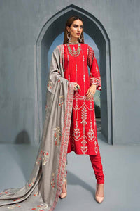 Red 3PC Embroidered Khaddar with Sequin Shawl AYE-04