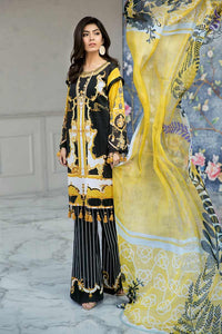 Yellow 3 PC Unstitched Suit BM-100