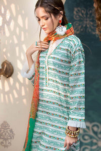 Turqouise 3 Pc Embroidered Chiffon C-505 - TURQUOISE