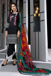 Gul Ahmed Unstitched 3 Pcs Suite C-516 Black