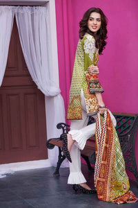 Ready to wear  Gul Ahmed Printed Lawn with Embroidered Shirt Green 3 PC CL-374 B