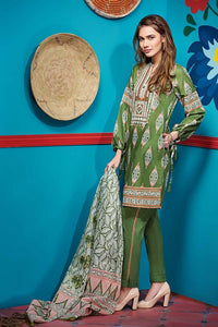 Green 3 Pc Embroidered Lawn CL-416 B