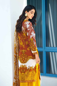 Gul Ahmed Printed Lawn and Embroidered lace Beige 3 PC Unstitched Dress CL-514 B