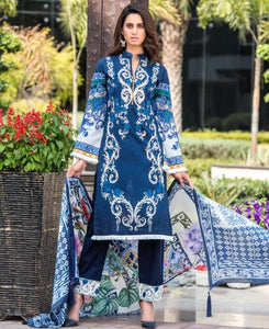 CRESCENT EMBROIDERED UNSTITCHED LAWN SPRING DESIGN 2 - BLUE