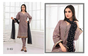 Ready to wear G0ld Odyssey Lawn 3 PC Suit With Chiffon Dupatta D-8757 Black