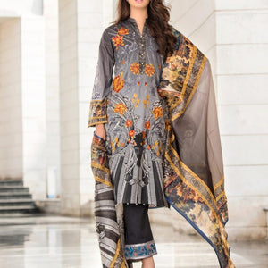 CRESCENT EMBROIDERED UNSTITCHED LAWN SPRING DESIGN 10 - GREY