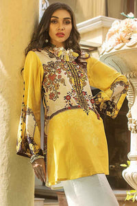 GUL AHMED YELLOW UNSTITCHED 1PC Embroidered Satin Shirt DCSS-11