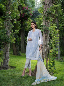 Light Grey Cotton Net Blanded Embroidered Chiffon EA-48