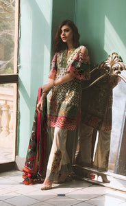 Lakhani Embroidered Lawn Unstitched 3 Piece Suit-TRIBAL POP-UP 3A - CREAM