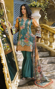 Lakhani Embroidered Lawn Unstitched 3 Piece RADIANCE GREEK 11A - GREEN