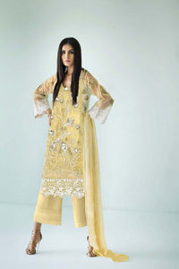 Cream 3 Pc Blended Chiffon FE-112 - YELLOW