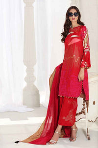 Red 3 PC Unstitched Dress FE-192 A