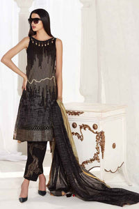 Black 3 PC Unstitched Dress FE-192 B