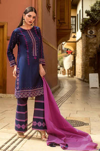 Gul Ahmed Printed Embroidered Navy 3 PC Unstitched Dress FE-229