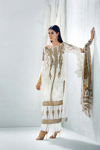 Gul Ahmed White 3 Pc Blended Chiffon FE-89