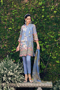 Gul Ahmed Digital Printed and Embroiderd 3 Pc Blended Chiffon FE-96 - BLUE