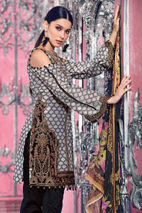 Gul Ahmed Festive Blended Chiffon Black 3 Pc  FE-97