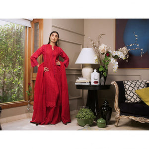 Red 3 PC Unstitched Suit RC-05