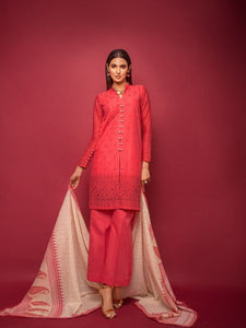 Red 3 PC Unstitched Suit RC-04