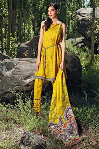 Yellow Unstitched 3PC Dress K-50