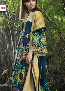 LSM Embroidered CoCoonery Winter Shawls Dress CO 1118 - MUSTARD
