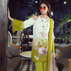SANA SAFINAZ UNSTITCHED MUZLIN COLLECTION 2019 MUZ-19-11B - GREEN