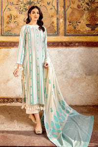 Cream 3 PC Unstitched Jacquard Suit MJ-31
