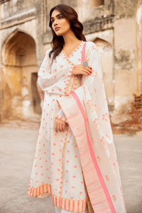 Cream 3 PC Unstitched Jacquard Suit MJ-34