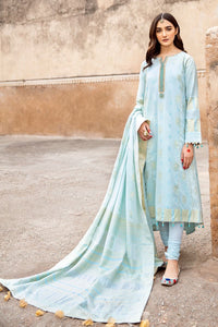 Blue 3 PC Unstitched Embroidered Jacquard Suit MJ-35