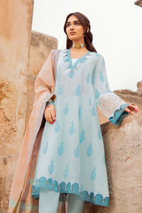 Blue 3 PC Unstitched Embroidered Jacquard Suit MJ-38