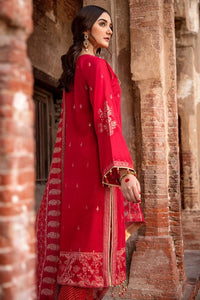 Red 3 PC Unstitched Embroidered Jacquard Suit with tissue silk dupatta MJ-42
