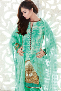 Premium Embroidered Chiffon Dress - Chiffon Scarf - GREEN