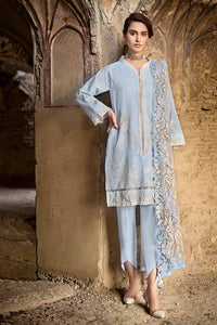 Blue 3 PC Unstitched Suit PM-253
