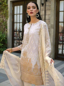 Gul AHmed Embroidered Woven Caramel PS-08 - WHITE